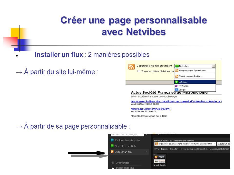27 Créer une page personnalisable avec Netvibes Installer un flux : 2 manières possibles À partir du site lui-même : À partir de sa page personnalisable :