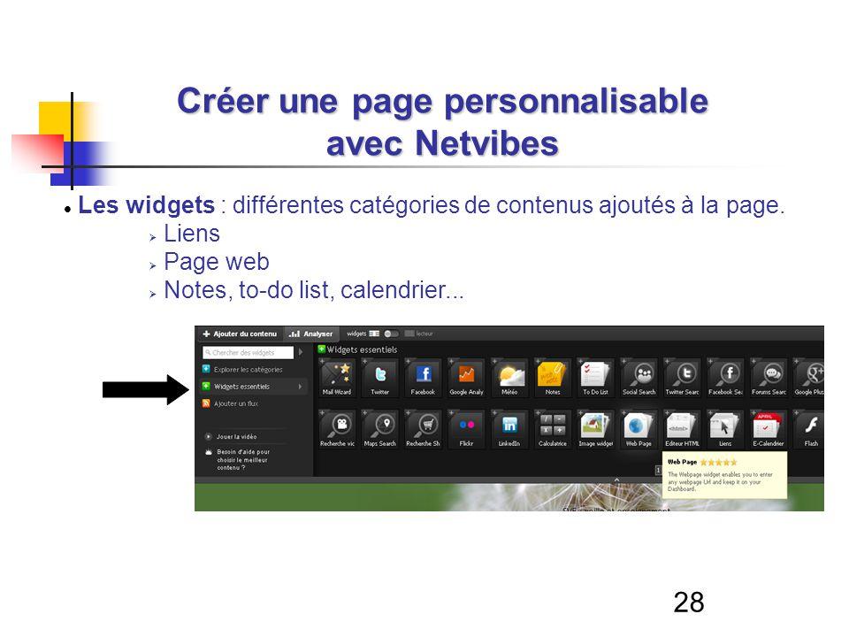 28 Créer une page personnalisable avec Netvibes Les widgets : différentes catégories de contenus ajoutés à la page. Liens Page web Notes, to-do list,