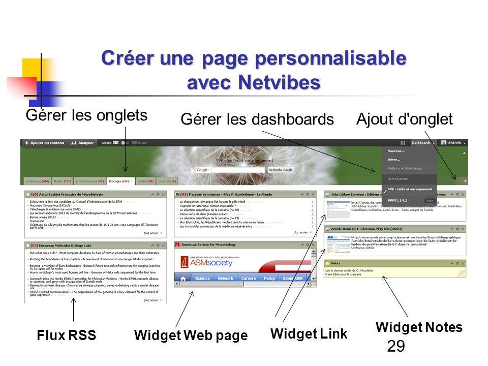 29 Créer une page personnalisable avec Netvibes Flux RSSWidget Web page Widget Link Widget Notes Ajout d onglet Gérer les onglets Gérer les dashboards