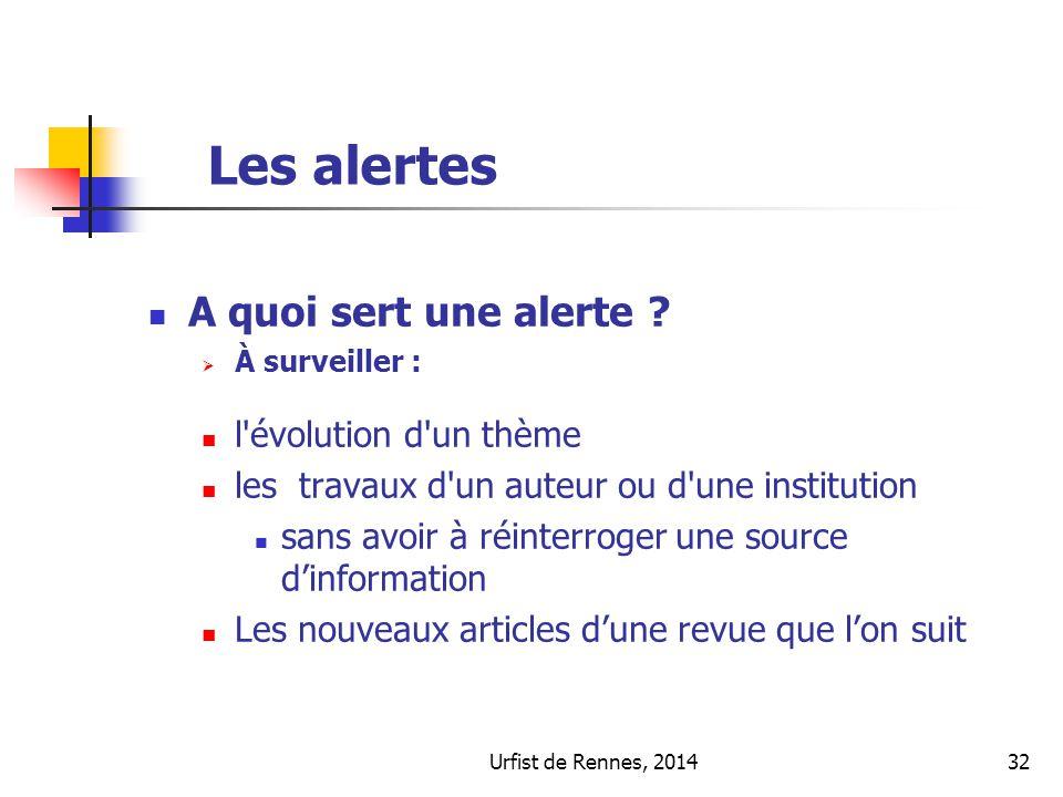 Urfist de Rennes, 201432 Les alertes A quoi sert une alerte ? À surveiller : l'évolution d'un thème les travaux d'un auteur ou d'une institution sans