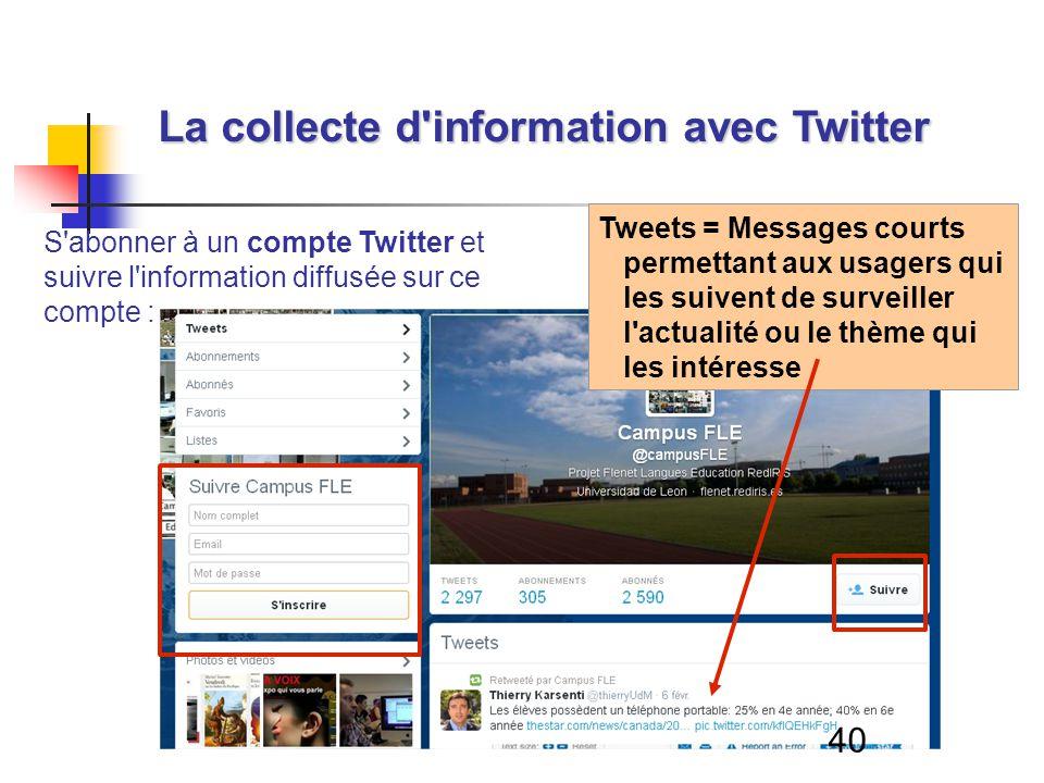 40 La collecte d information avec Twitter S abonner à un compte Twitter et suivre l information diffusée sur ce compte : Tweets = Messages courts permettant aux usagers qui les suivent de surveiller l actualité ou le thème qui les intéresse