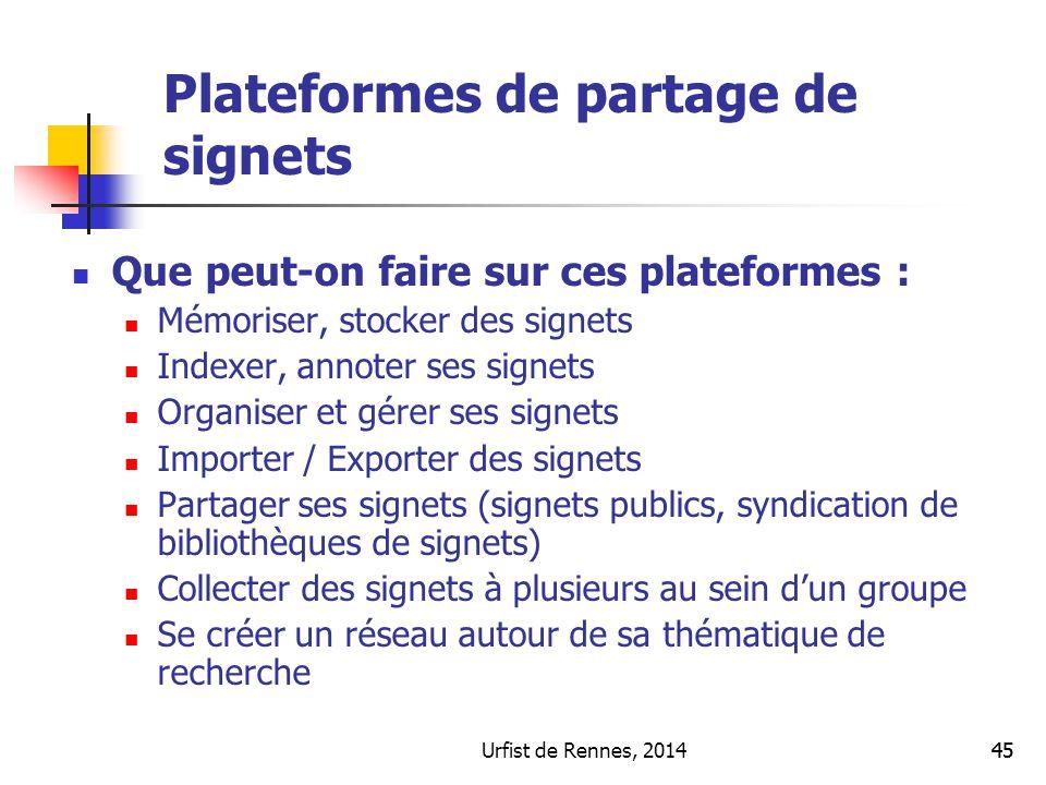 Urfist de Rennes, 201445 Principales fonctionnalités Que peut-on faire sur ces plateformes : Mémoriser, stocker des signets Indexer, annoter ses signe