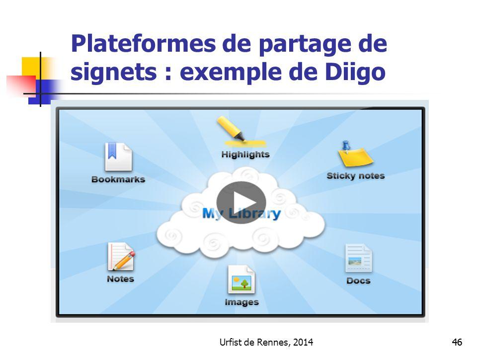 Urfist de Rennes, 201446 Plateformes de partage de signets : exemple de Diigo