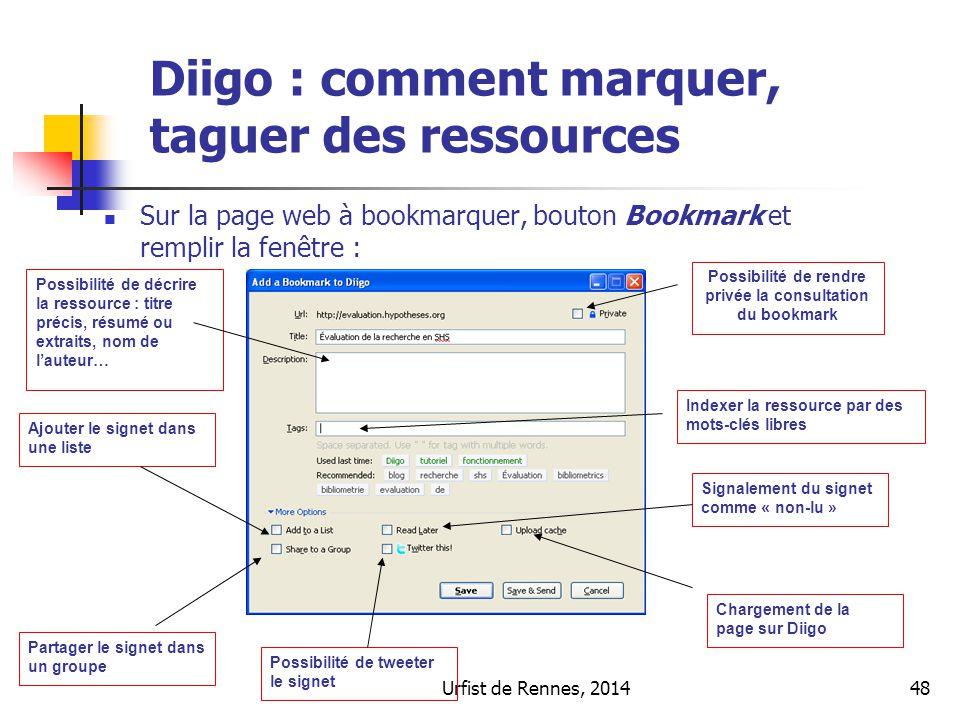 Urfist de Rennes, 201448 Sur la page web à bookmarquer, bouton Bookmark et remplir la fenêtre : Possibilité de décrire la ressource : titre précis, ré