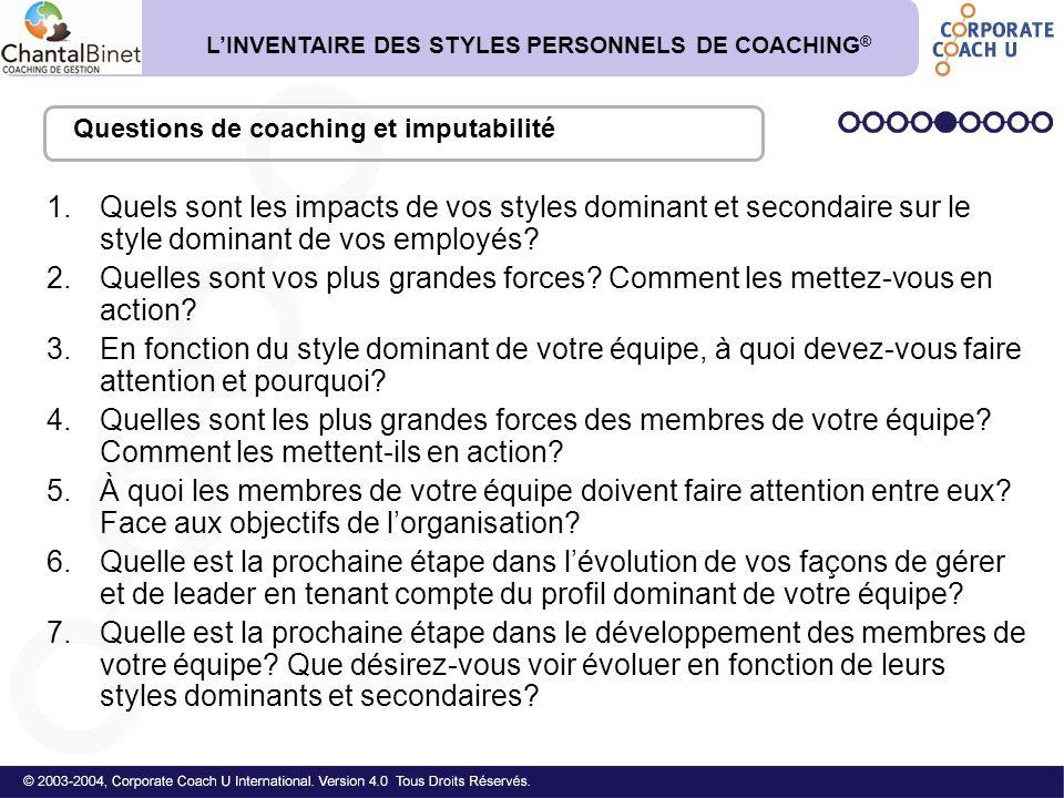 1.Quels sont les impacts de vos styles dominant et secondaire sur le style dominant de vos employés? 2.Quelles sont vos plus grandes forces? Comment l