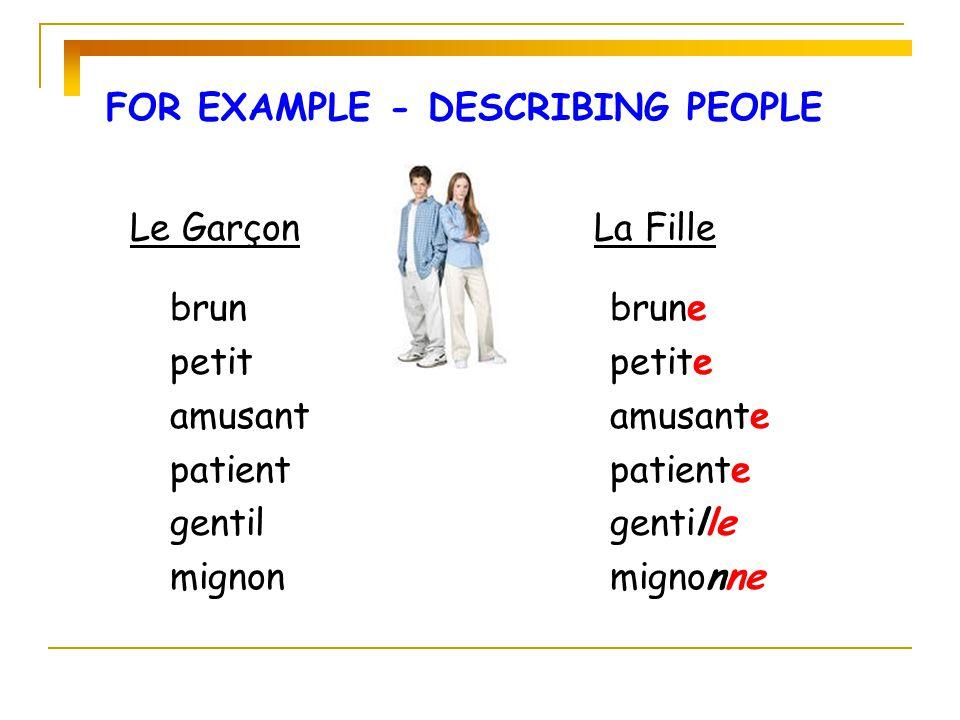 FOR EXAMPLE - DESCRIBING PEOPLE Le GarçonLa Fille brun petit amusant patient gentil mignon brune petite amusante patiente gentille mignonne