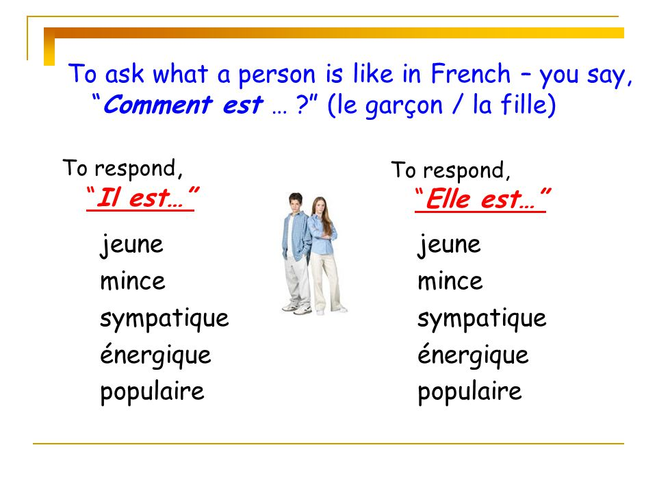 fort (e) Some adjectives… mince gros (se) What are the differences between the endings in the 3 examples.