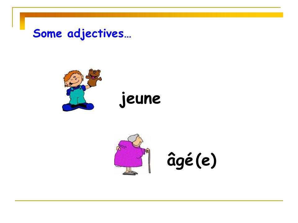 âgé (e) jeune Some adjectives…