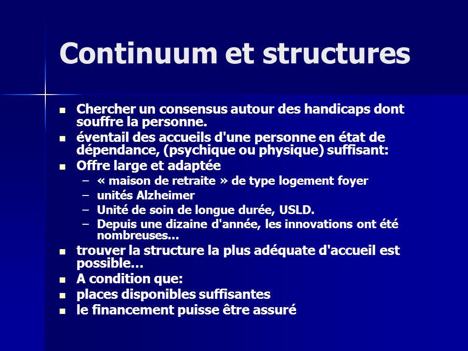 Continuum et structures Chercher un consensus autour des handicaps dont souffre la personne.
