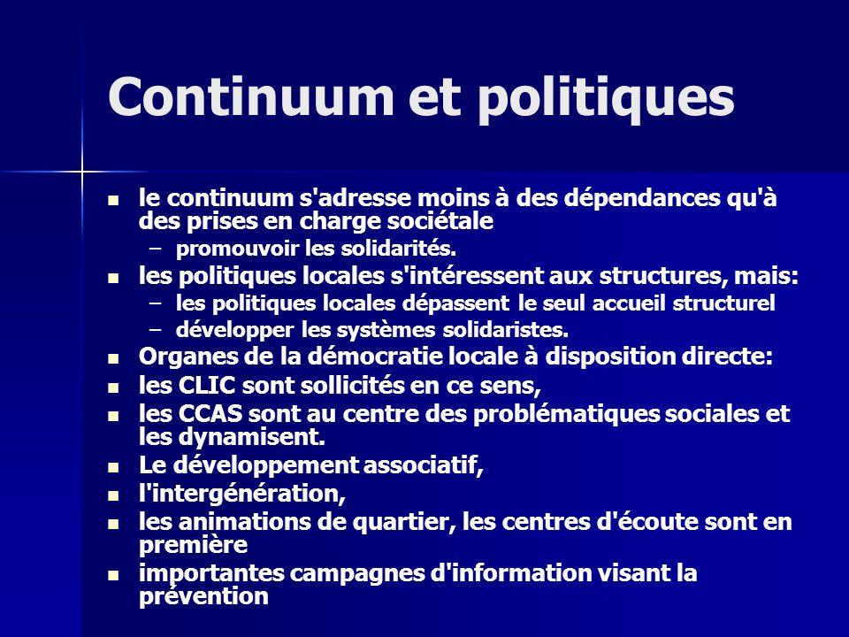 Continuum et politiques le continuum s adresse moins à des dépendances qu à des prises en charge sociétale – –promouvoir les solidarités.