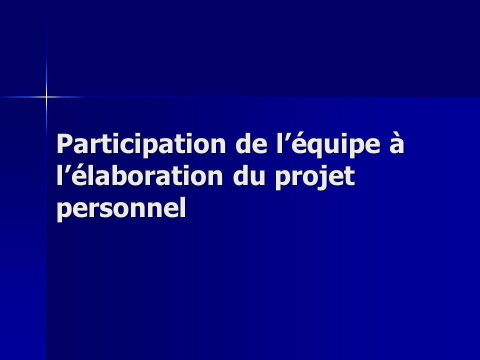 Participation de léquipe à lélaboration du projet personnel