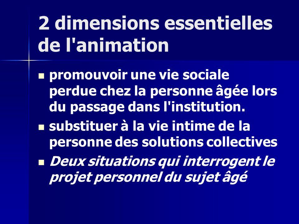 2 dimensions essentielles de l animation promouvoir une vie sociale perdue chez la personne âgée lors du passage dans l institution.