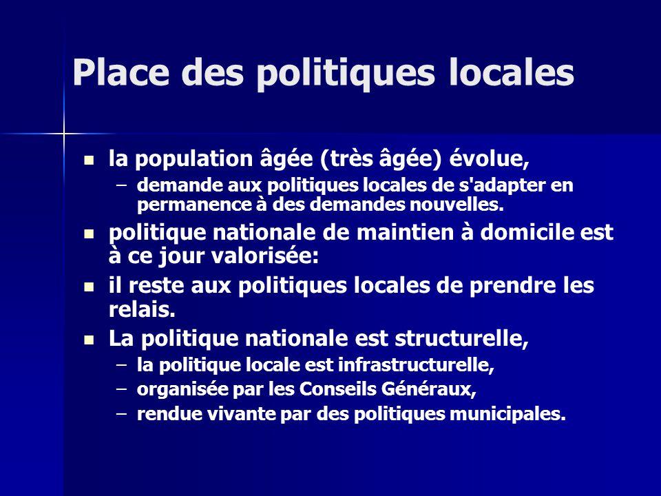 Place des politiques locales la population âgée (très âgée) évolue, – –demande aux politiques locales de s adapter en permanence à des demandes nouvelles.