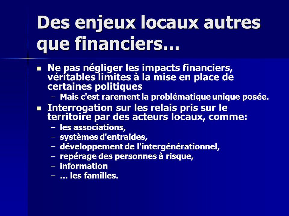Des enjeux locaux autres que financiers… Ne pas négliger les impacts financiers, véritables limites à la mise en place de certaines politiques – –Mais c est rarement la problématique unique posée.