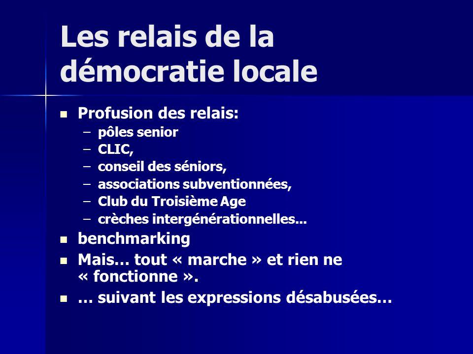 Les relais de la démocratie locale Profusion des relais: – –pôles senior – –CLIC, – –conseil des séniors, – –associations subventionnées, – –Club du Troisième Age – –crèches intergénérationnelles...