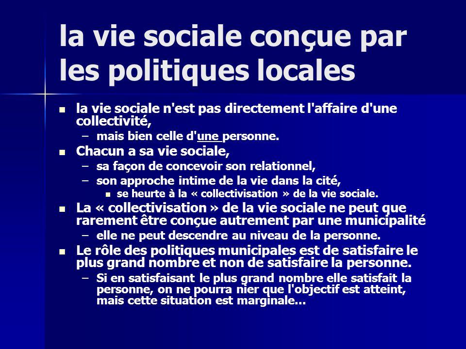 la vie sociale conçue par les politiques locales la vie sociale n est pas directement l affaire d une collectivité, – –mais bien celle d une personne.