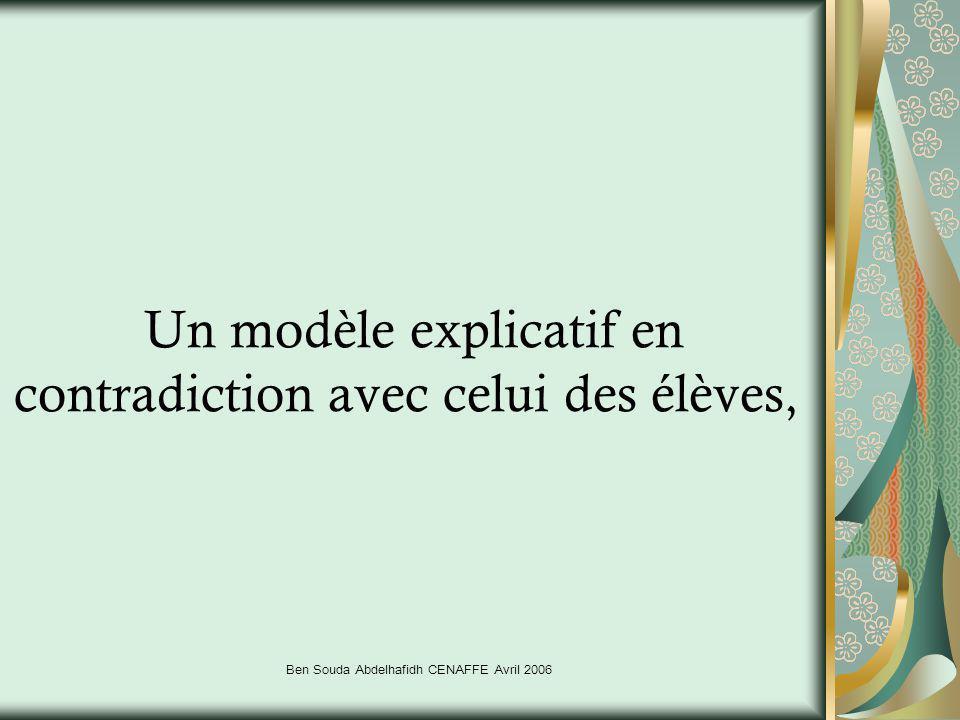 Ben Souda Abdelhafidh CENAFFE Avril 2006 Un modèle explicatif en contradiction avec celui des élèves,