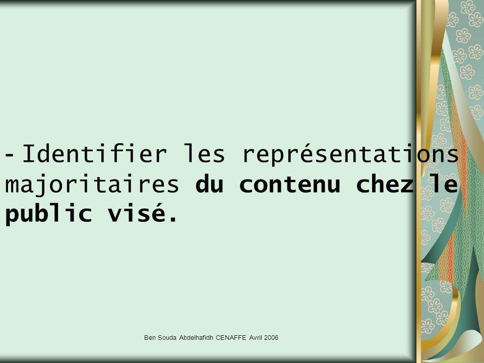 Ben Souda Abdelhafidh CENAFFE Avril 2006 - Identifier les représentations majoritaires du contenu chez le public visé.