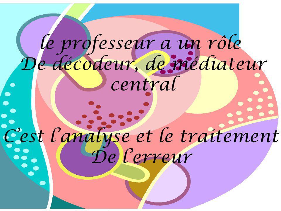 le professeur a un rôle De décodeur, de médiateur central Cest lanalyse et le traitement De lerreur