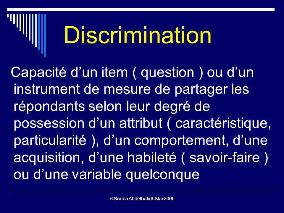 B Souda Abdelhafidh Mai 2006 Discrimination Capacité dun item ( question ) ou dun instrument de mesure de partager les répondants selon leur degré de possession dun attribut ( caractéristique, particularité ), dun comportement, dune acquisition, dune habileté ( savoir-faire ) ou dune variable quelconque