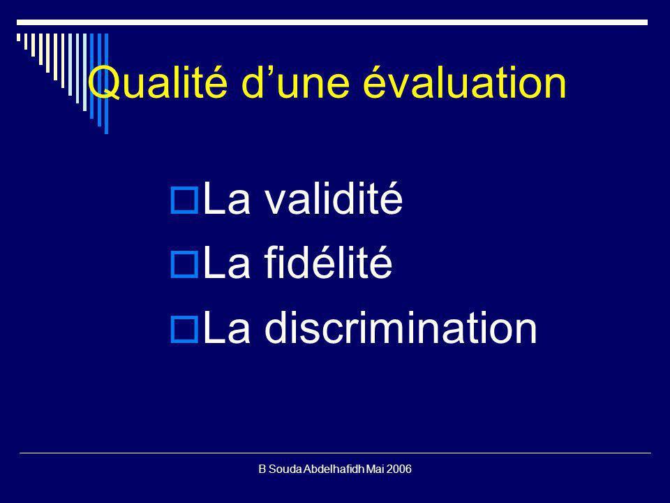 B Souda Abdelhafidh Mai 2006 Qualité dune évaluation La validité La fidélité La discrimination