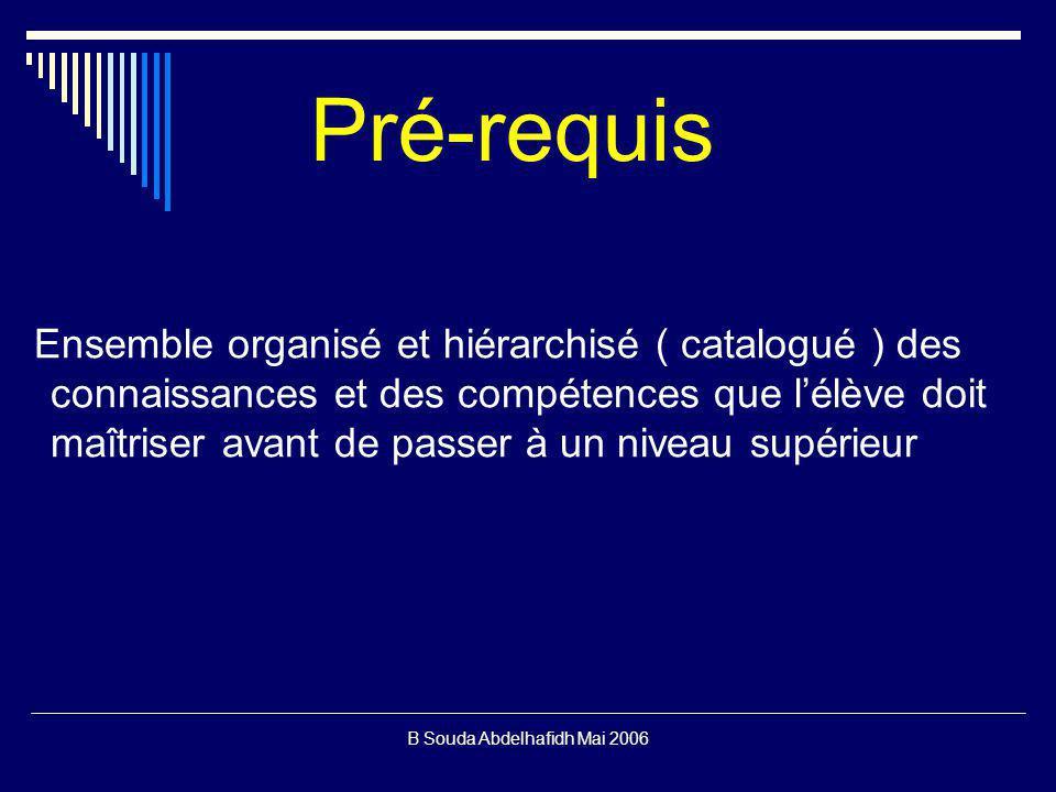 B Souda Abdelhafidh Mai 2006 Pré-requis Ensemble organisé et hiérarchisé ( catalogué ) des connaissances et des compétences que lélève doit maîtriser avant de passer à un niveau supérieur