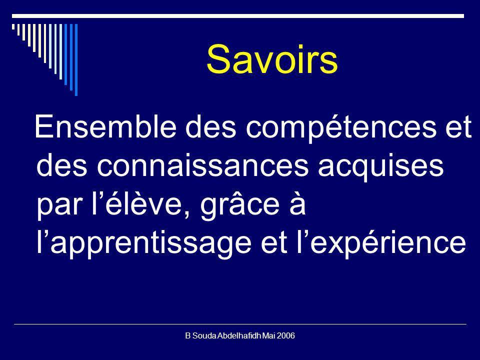 B Souda Abdelhafidh Mai 2006 Savoirs Ensemble des compétences et des connaissances acquises par lélève, grâce à lapprentissage et lexpérience