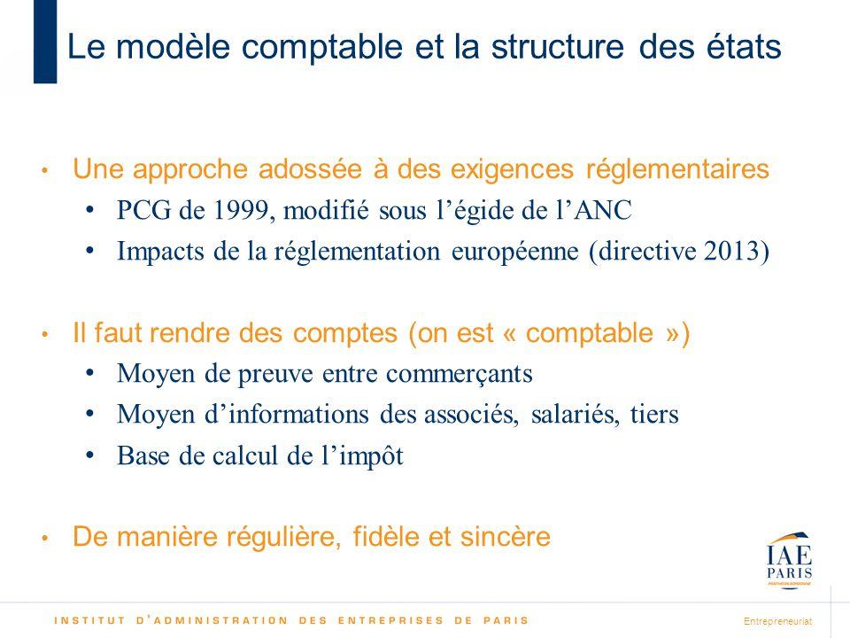 Entrepreneuriat Le modèle comptable et la structure des états Une approche adossée à des exigences réglementaires PCG de 1999, modifié sous légide de