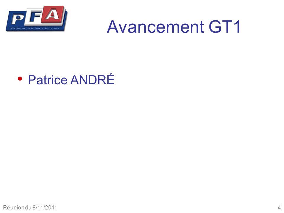 Avancement GT1 Patrice ANDRÉ Réunion du 8/11/2011 4