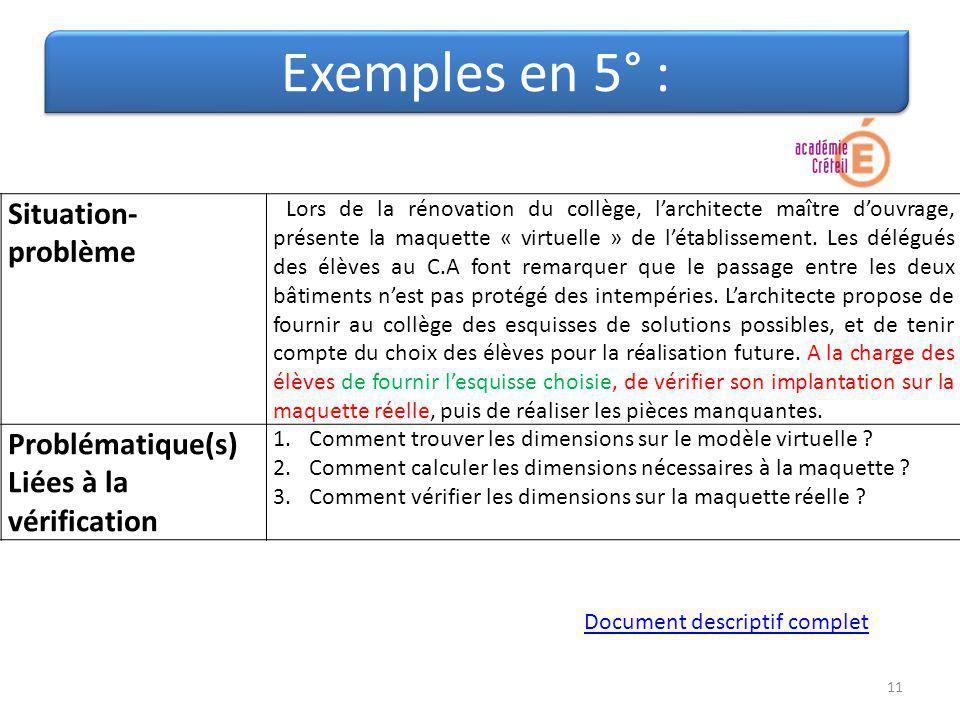 Exemples en 5° : Situation- problème Lors de la rénovation du collège, larchitecte maître douvrage, présente la maquette « virtuelle » de létablisseme