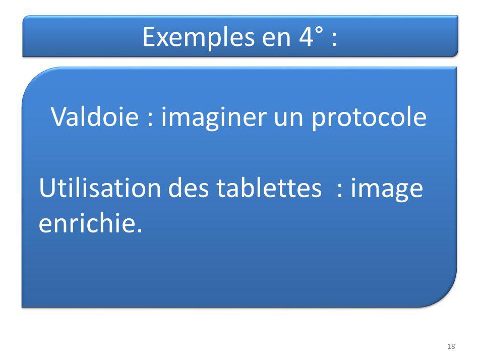 Exemples en 4° : Valdoie : imaginer un protocole Utilisation des tablettes : image enrichie. Valdoie : imaginer un protocole Utilisation des tablettes
