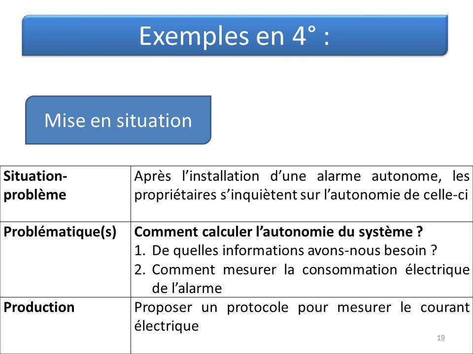 Exemples en 4° : Situation- problème Après linstallation dune alarme autonome, les propriétaires sinquiètent sur lautonomie de celle-ci Problématique(