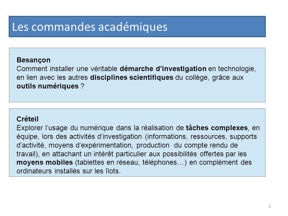 Les commandes académiques Créteil Explorer lusage du numérique dans la réalisation de tâches complexes, en équipe, lors des activités dinvestigation (