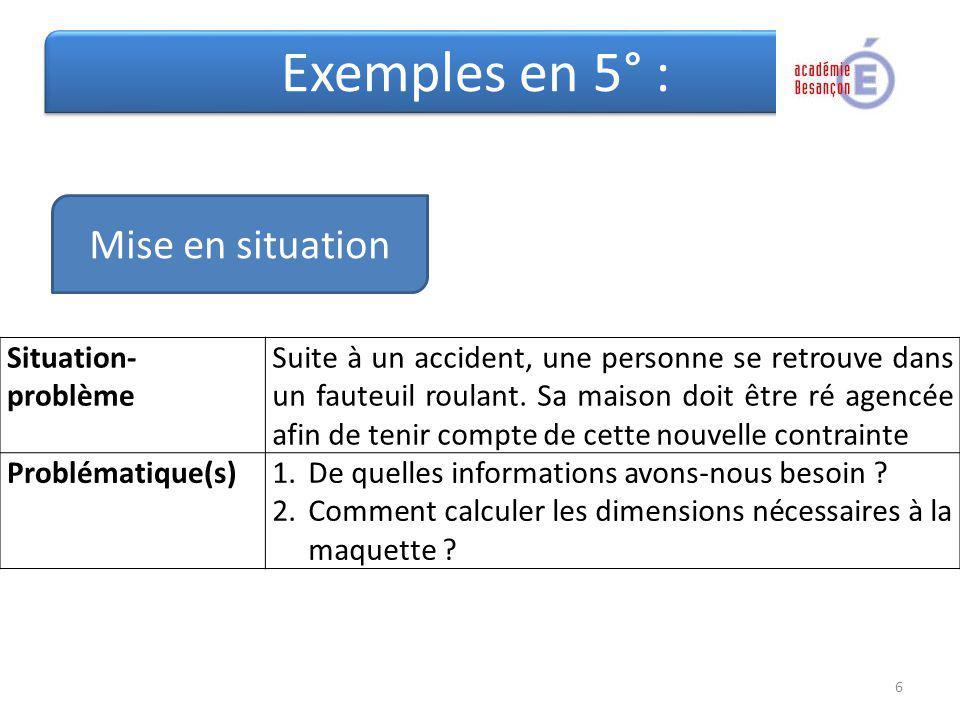 Exemples en 5° : Situation- problème Suite à un accident, une personne se retrouve dans un fauteuil roulant. Sa maison doit être ré agencée afin de te