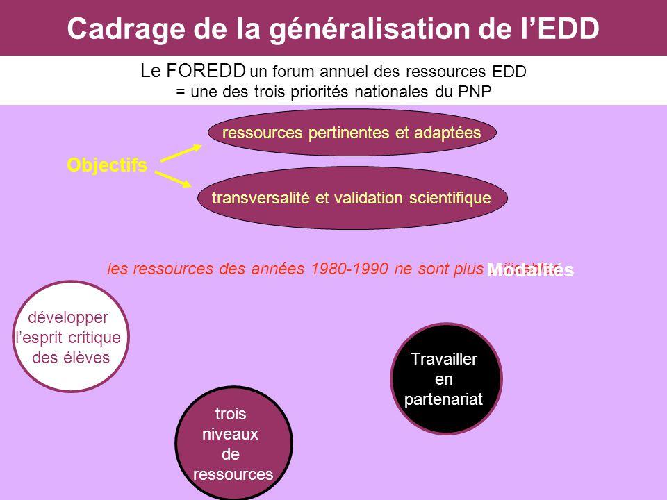 Cadrage de la généralisation de lEDD Le FOREDD un forum annuel des ressources EDD = une des trois priorités nationales du PNP Objectifs les ressources