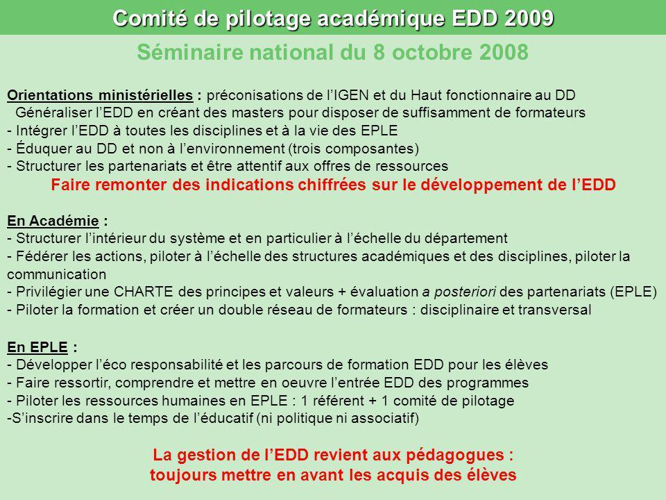 Comité de pilotage académique EDD 2009 Séminaire national du 8 octobre 2008 Orientations ministérielles : préconisations de lIGEN et du Haut fonctionn