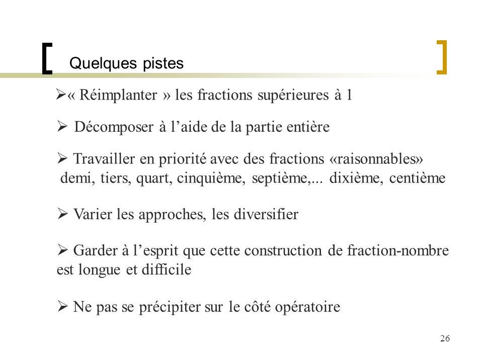 26 Quelques pistes « Réimplanter » les fractions supérieures à 1 Décomposer à laide de la partie entière Travailler en priorité avec des fractions «ra