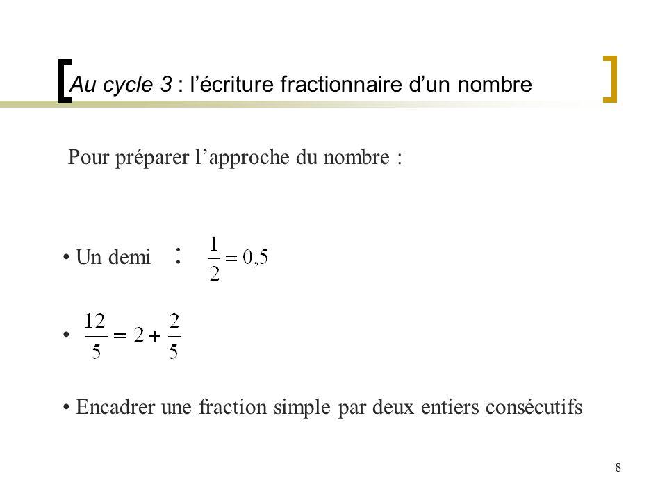 8 Pour préparer lapproche du nombre : Encadrer une fraction simple par deux entiers consécutifs Au cycle 3 : lécriture fractionnaire dun nombre Un dem