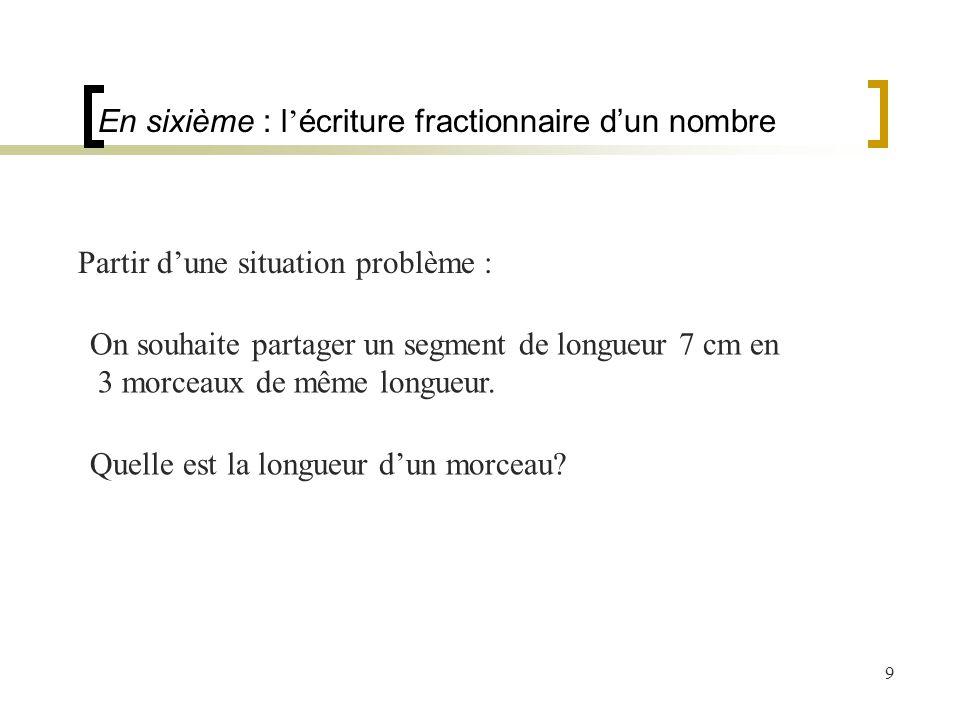 9 En sixième : l écriture fractionnaire dun nombre Partir dune situation problème : On souhaite partager un segment de longueur 7 cm en 3 morceaux de