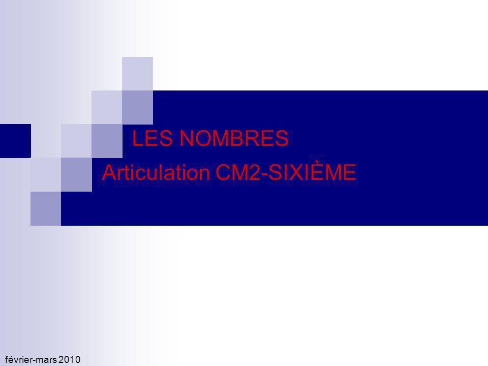 février-mars 2010 LES NOMBRES Articulation CM2-SIXIÈME