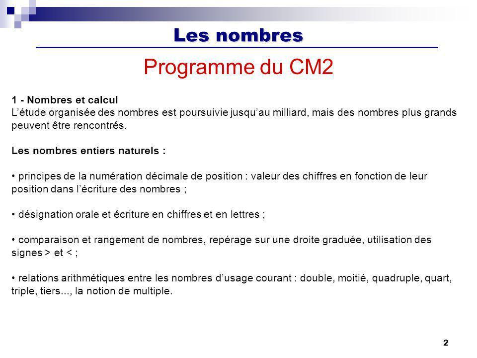 Les nombres 2 Programme du CM2 1 - Nombres et calcul Létude organisée des nombres est poursuivie jusquau milliard, mais des nombres plus grands peuven