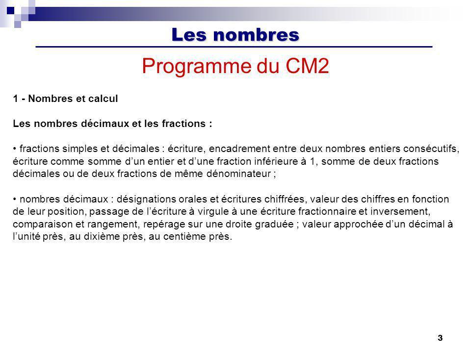 Les nombres 3 Programme du CM2 1 - Nombres et calcul Les nombres décimaux et les fractions : fractions simples et décimales : écriture, encadrement en