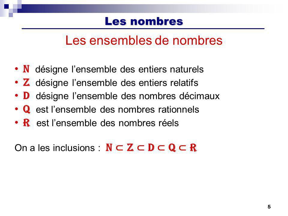 Les nombres 5 Les ensembles de nombres N désigne lensemble des entiers naturels Z désigne lensemble des entiers relatifs D désigne lensemble des nombr