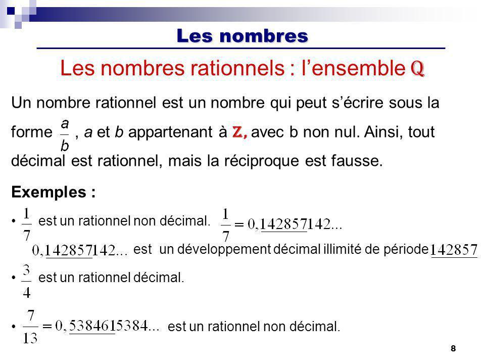Les nombres 8 Les nombres rationnels : lensemble Q Un nombre rationnel est un nombre qui peut sécrire sous la forme, a et b appartenant à Z, avec b no