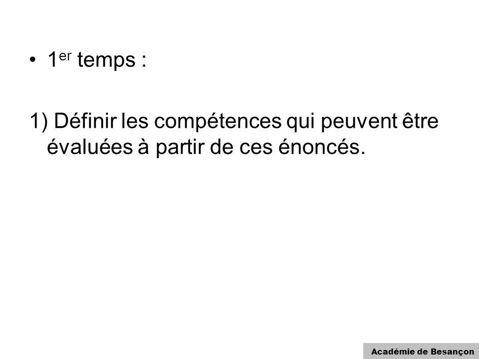 Académie de Besançon 1 er temps : 1) Définir les compétences qui peuvent être évaluées à partir de ces énoncés.