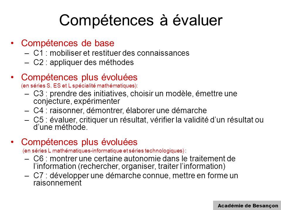 Académie de Besançon Compétences à évaluer Compétences de base –C1 : mobiliser et restituer des connaissances –C2 : appliquer des méthodes Compétences