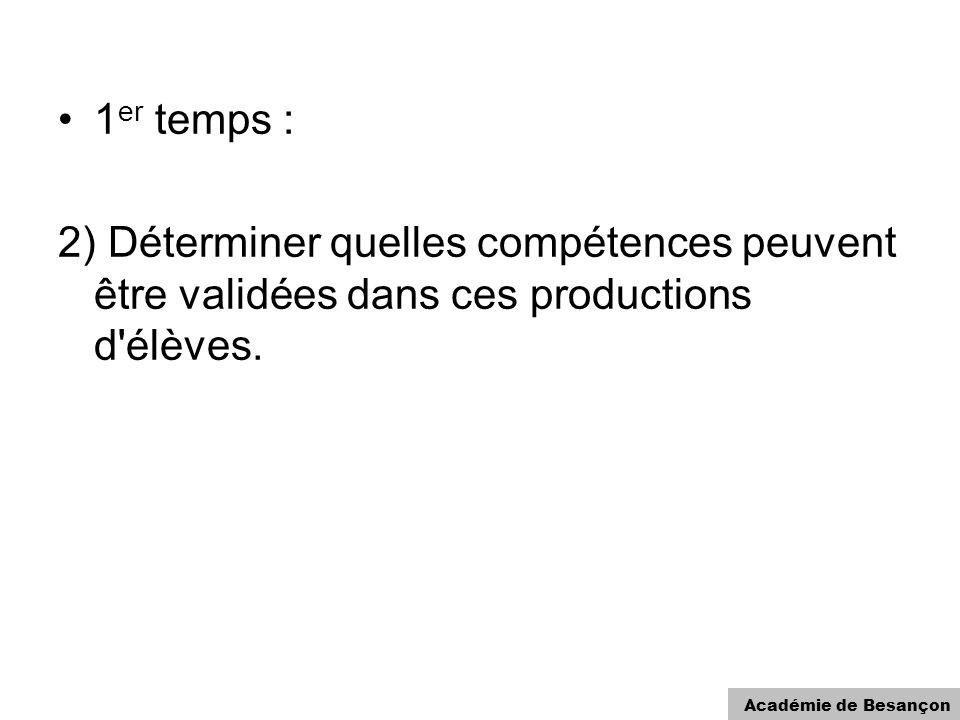 Académie de Besançon 1 er temps : 2) Déterminer quelles compétences peuvent être validées dans ces productions d'élèves.
