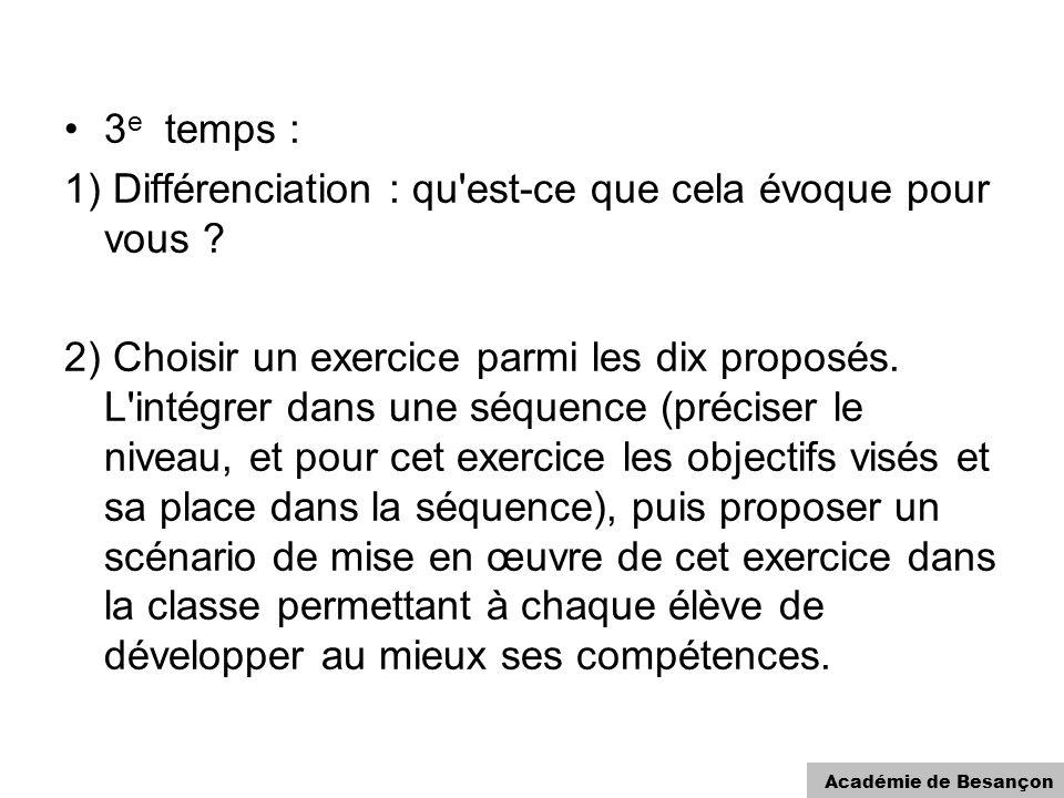 Académie de Besançon 3 e temps : 1) Différenciation : qu'est-ce que cela évoque pour vous ? 2) Choisir un exercice parmi les dix proposés. L'intégrer