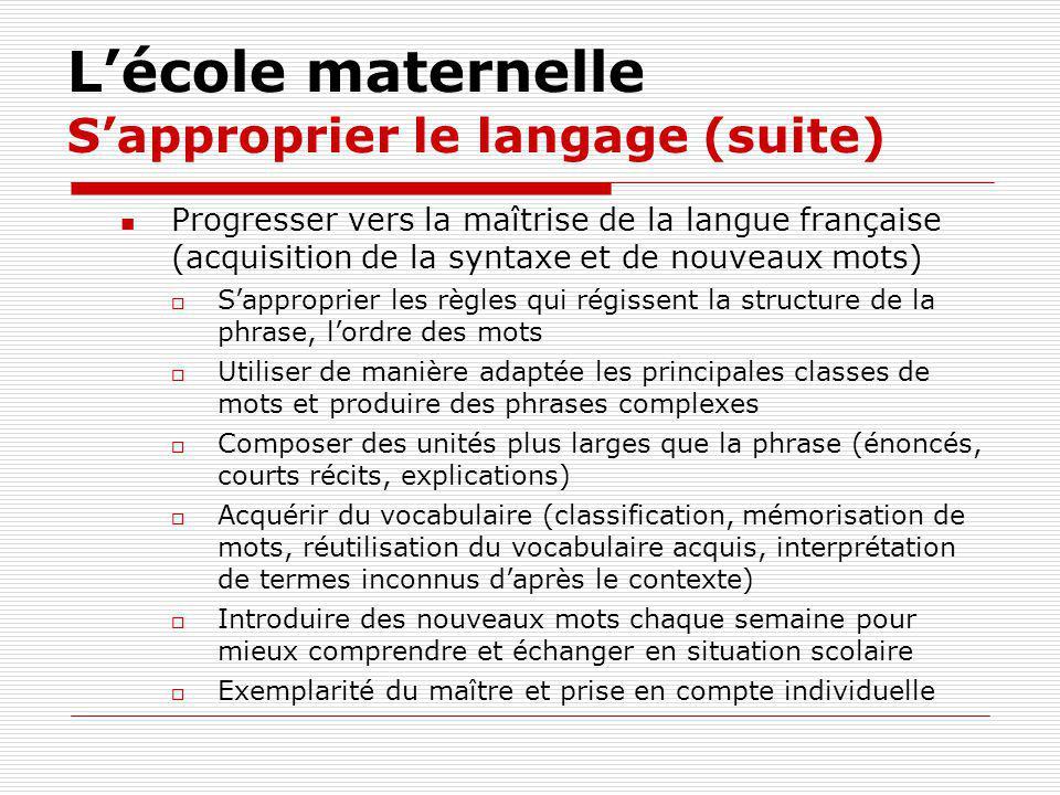 Lécole maternelle Sapproprier le langage (suite) Progresser vers la maîtrise de la langue française (acquisition de la syntaxe et de nouveaux mots) Sa