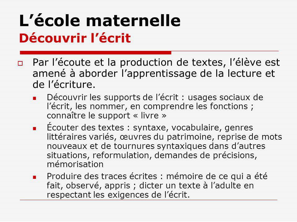 Lécole maternelle Découvrir lécrit Par lécoute et la production de textes, lélève est amené à aborder lapprentissage de la lecture et de lécriture. Dé